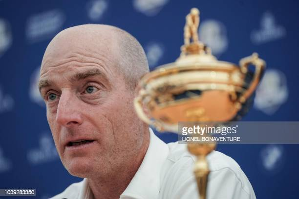 Ryder Cup team US captain Jim Furyk attends a press conference ahead of the 42nd Ryder Cup at Le Golf National Course in SaintQuentinenYvelines...