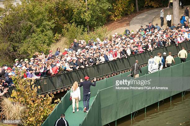 Ryder Cup US team member Keegan Bradley with his girlfriend Jillian Stacey during the Morning Foursomes Matches for the 39th Ryder Cup at Medinah...
