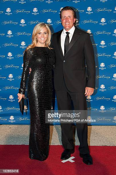 Ryder Cup US Team member Phil Mickelson and his wife Amy arrive at the Ryder Cup Gala at the Akoo Theatre on September 26 2012 Rosemont Illinois