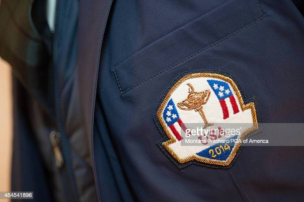 Ryder Cup USA logo detail on the Ryder Cup Team USA uniforms during the Ryder Cup Captain's Picks Media Tour at the Ralph Lauren Headquarters on...