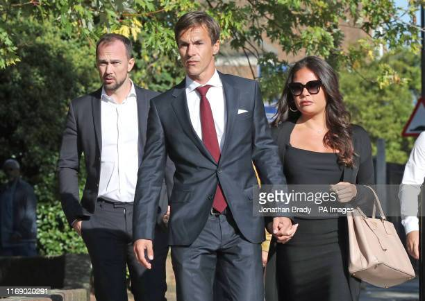 Ryder Cup-winning golfer Thorbjorn Olesen arrives at Isleworth Crown Court in west London, where he is charged with sexual assault, being drunk on an...