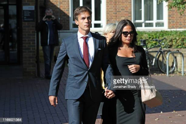 Ryder Cup-winning golfer Thorbjorn Olesen leaves Isleworth Crown Court in west London, where he is charged with sexual assault, being drunk on an...