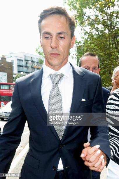 Ryder Cup-winning golfer Thorbjorn Olesen leaving Uxbridge Magistrates' Court where he appeared charged with sexual assault, being drunk on an...