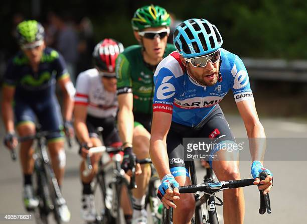 Ryder Hesjedal of Canada and Garmin-Sharp in action during the fourteenth stage of the 2014 Giro d'Italia, a 164km high mountain stage between Aglie...