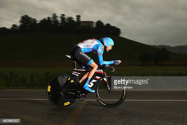 Ryder Hesjedal of Canada and GarminSharp in action during the twelfth stage of the 2014 Giro d'Italia a 42km Individual Time Trial stage between...