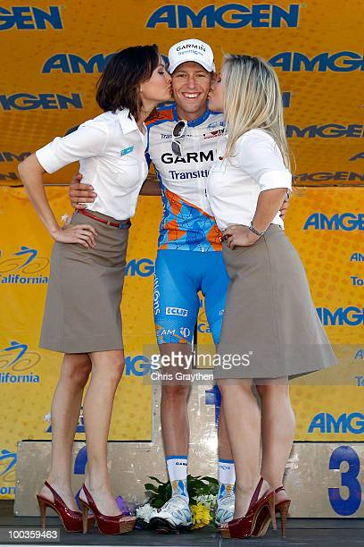 Ryder Hesjedal of Canada and riding for GarminTransitions celebrates as he crosses the finish line to win Stage Eight of the 2010 Tour of California...