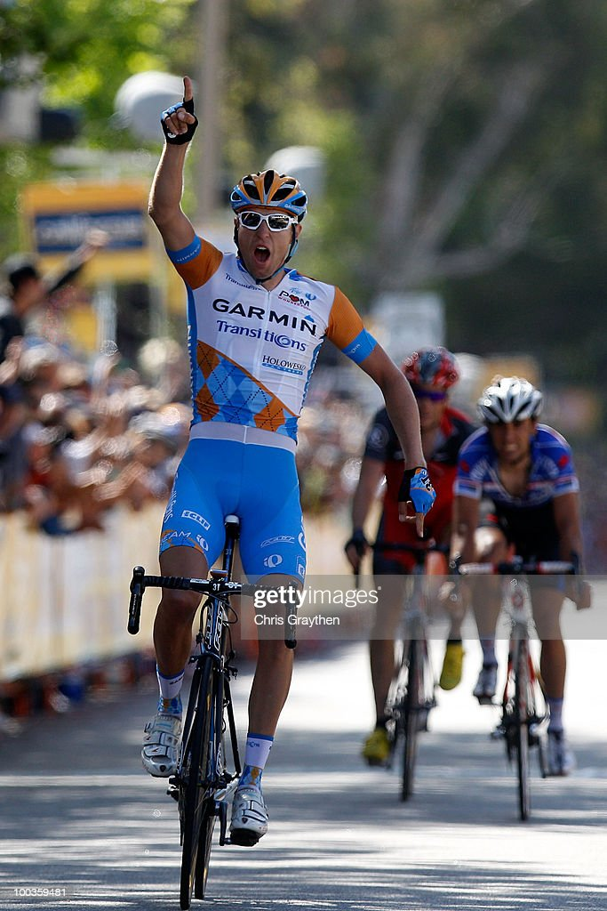 Ryder Hesjedal of Canada and riding for Garmin-Transitions celebrates as he crosses the finish line to win Stage Eight of the 2010 Tour of California on May 23, 2010 in Westlake Village, California.