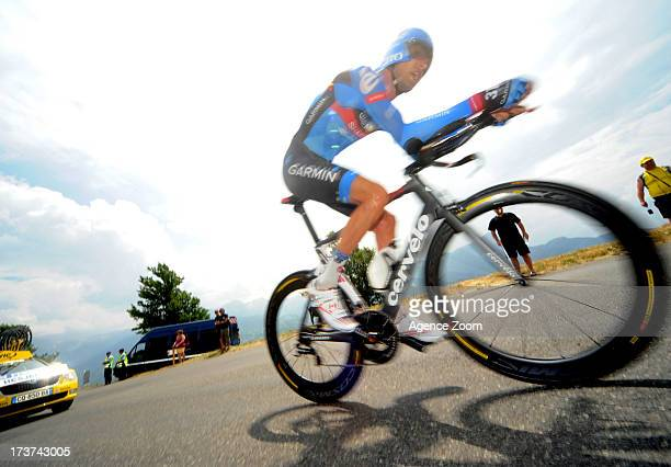 Ryder Hesjedal of Canada and Team Garmin-Sharp in action during stage seventeen of the 2013 Tour de France, a 32KM Individual Time Trial from Embrun...