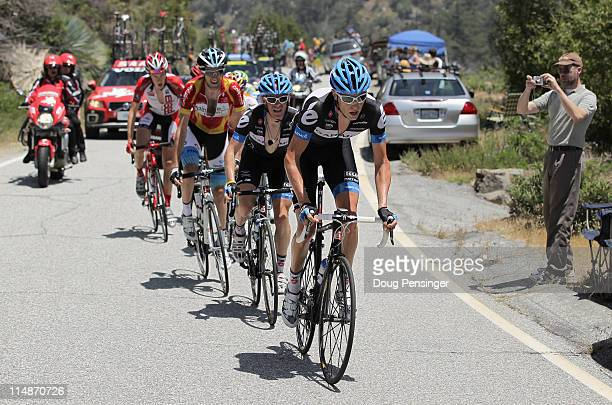 Ryder Hesjedal of Canada and teammate Andrew Talansky of the USA riding for Garmin-Cervelo lead the breakaway up the climb of Glendora Ridge Road in...