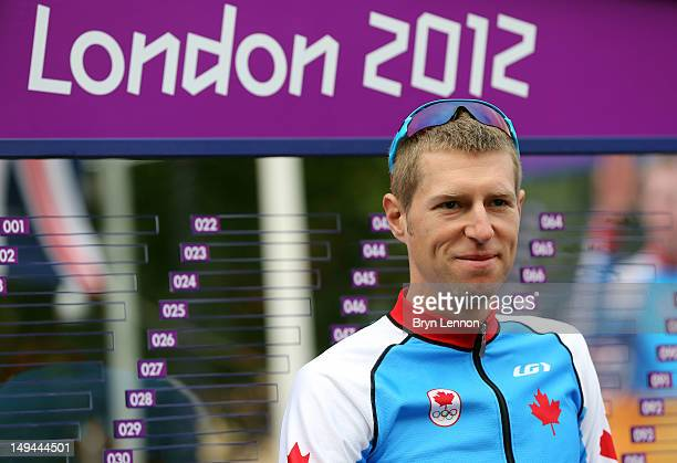 Ryder Hesjedal of Canada looks on ahead of the Men's Road Race Road Cycling on day 1 of the London 2012 Olympic Games on July 28, 2012 in London,...