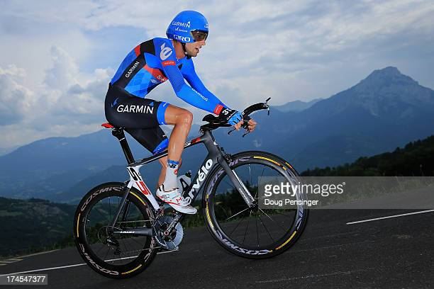 Ryder Hesjedal of Canada riding for Garmin-Sharp competes during stage seventeen of the 2013 Tour de France, a 32KM Individual Time Trial from Embrun...