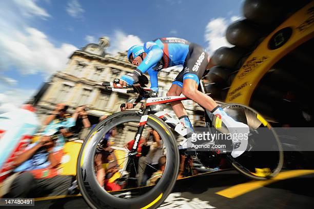Ryder Hesjedal of team GARMIN SHARP BARRACUDA during the Prologue of the Tour de France on June 30, 2012 in Liege, Belgium.