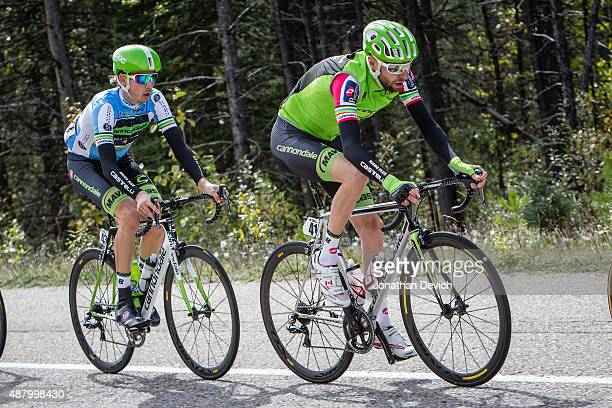 Ryder Hesjedal of the Cannondale-Garmin Pro Cycling Team rides in the best Canadian jersey with teammate Jasper Bovenhuis riding for the...
