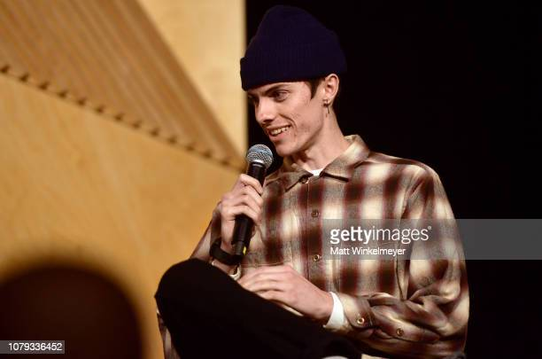 Ryder McLaughlin speaks onstage at GQ Live The World Of Jonah Hill With The Cast Of 'Mid90s' at NeueHouse Los Angeles on December 07 2018 in...