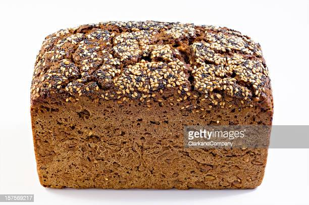 Rye Bread With Sesame And Poppy Seeds Topping White Background