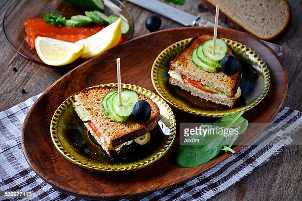 Rye sandwiches with salmon and cream cheese