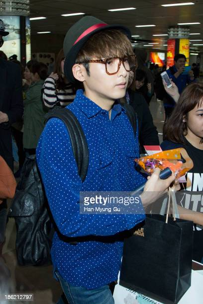 Ryeowook of boy band Super Junior M is seen upon arrival at the Gimpo Airport on October 28, 2013 in Seoul, South Korea.