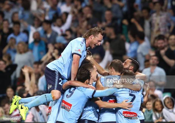 Ryhan Grant of Sydney FC celebrates after Alex Brosque of Sydney FC scored his teams second goal during the round two ALeague match between Sydney FC...