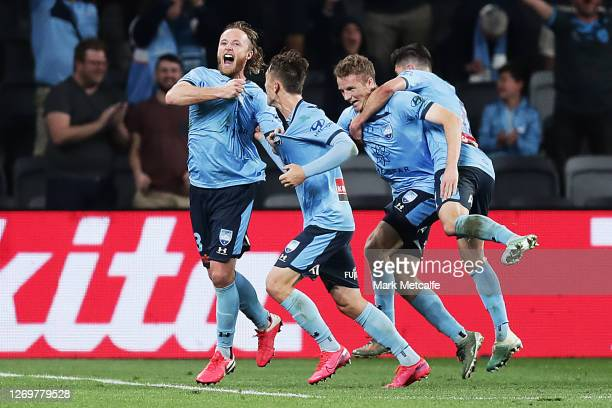 Ryhan Grant of Sydney FC celebrates scoring a goal during the 2020 A-League Grand Final match between Sydney FC and Melbourne City at Bankwest...