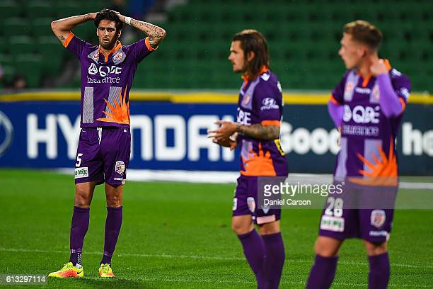 Ryhs Williams of the Perth Glory is dejected after the loss during the round one ALeague match between the Perth Glory and the Central Coast Mariners...