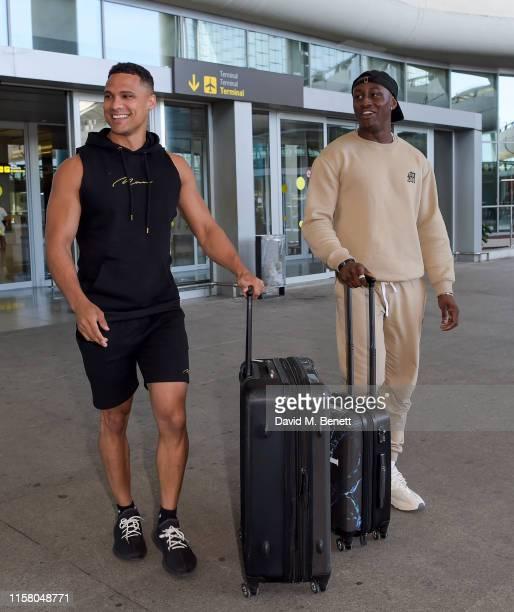 Rykard Jenkins and Sherif Olanrewaju arrive at Malaga airport ahead of boohoo boohooMAN event on July 27 2019 in Marbella Spain