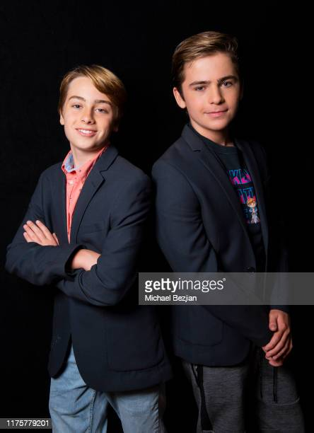Ryker Baloun and Ayden Mekus wear a Toby Lee Jones blazer at the Giveback Day at TAP The Artists Project on September 19 2019 in Los Angeles...