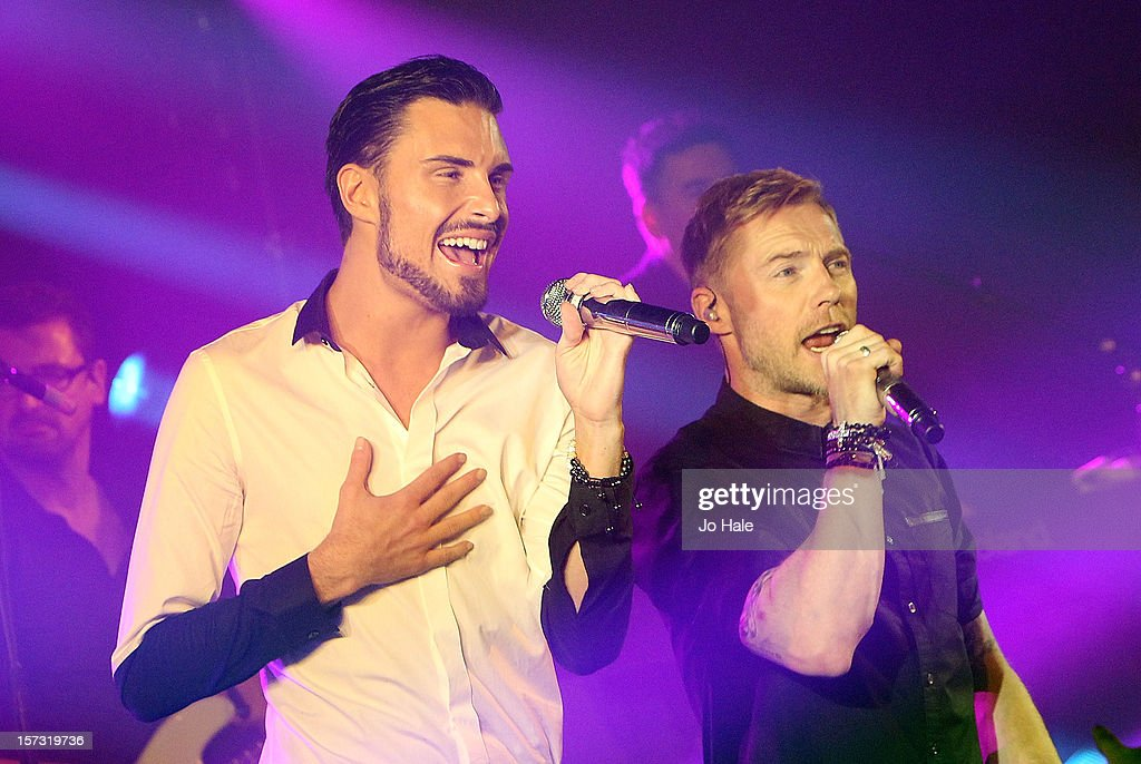 Rylan Clark and Ronan Keating perform at The Emeralds and Ivy Ball on December 1, 2012 in London, England.