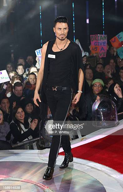 Rylan Clark enters the Celebrity Big Brother House at Elstree Studios on January 3 2013 in Borehamwood England