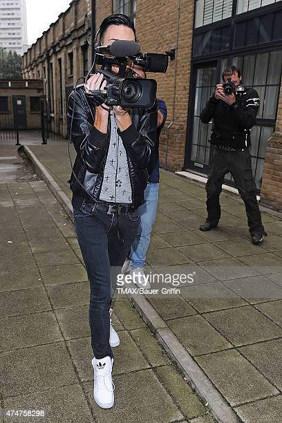 Rylan Clark is seen with a video camera outside the X Factor studio on October 24 2012 in London United Kingdom
