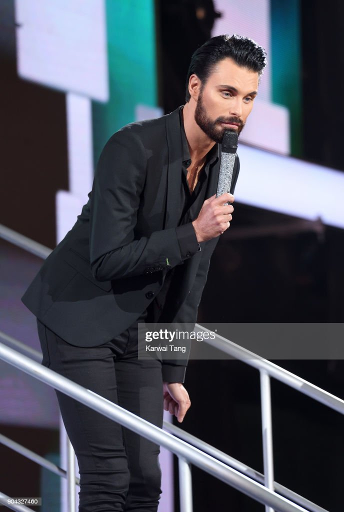 Rylan Clark presents the Celebrity Big Brother live eviction at Elstree Studios on January 12, 2018 in Borehamwood, England.