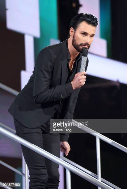 Rylan Clark presents the Celebrity Big Brother live eviction at Elstree Studios on January 12 2018 in Borehamwood England