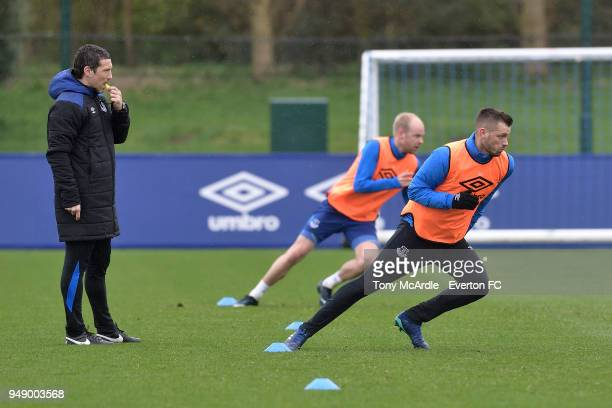 Ryland Morgans watches over Davy Klaassen and Morgan Schneiderlin during the Everton FC training session at USM Finch Farm on April 17 2018 in...