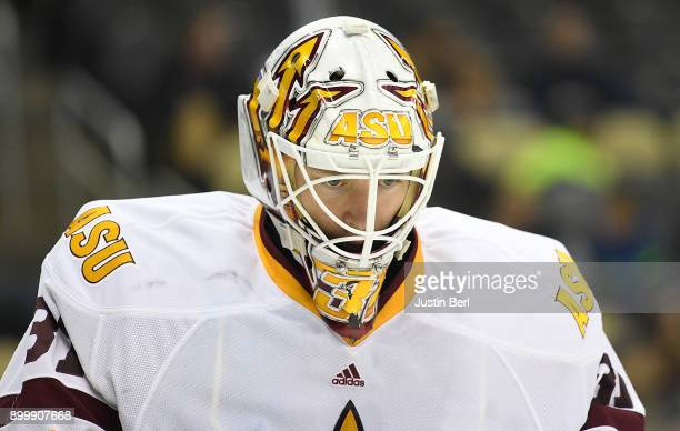 Ryland Pashovitz of the Arizona State Sun Devils looks on during a stoppage in play in the second period during the game against the Lake Superior...