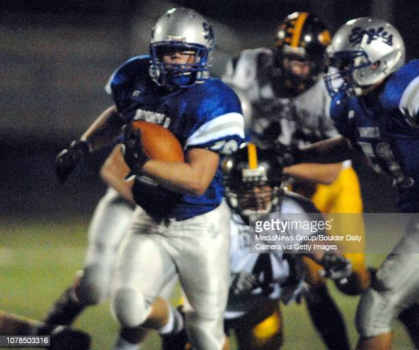Ryland Snow Broomfield High School runs down field for a touchdown against Thompson Valley High School during play on Friday at Elizabeth Kennedy...