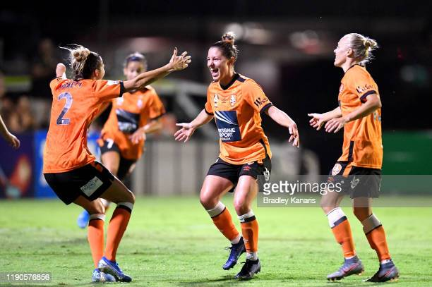 Rylee Baisden of the Roar celebrates scoring a goal during the round three WLeague match between the Brisbane Roar and the Western Sydney Wanderers...
