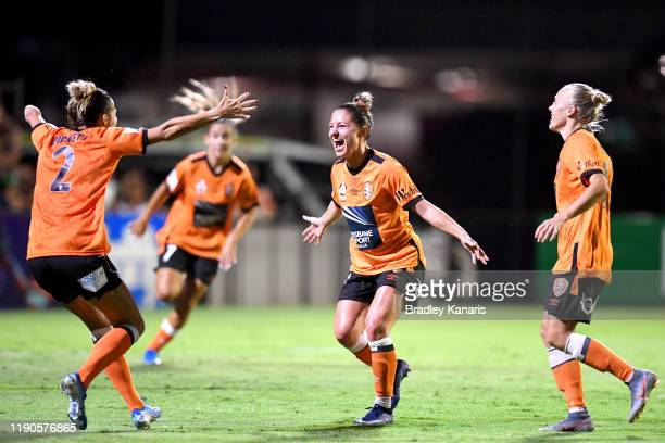 Rylee Baisden of the Roar celebrates scoring a goal during the round three W-League match between the Brisbane Roar and the Western Sydney Wanderers...