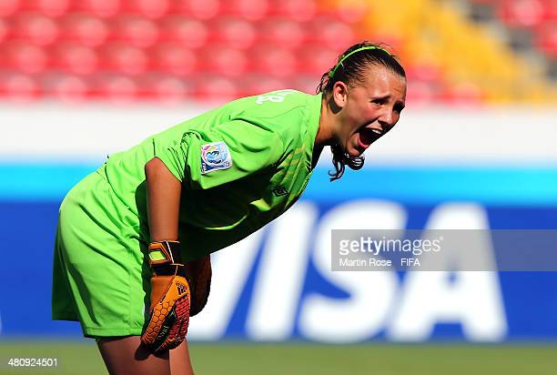 Rylee Foster goalkeeper of Canada reacts during the FIFA U17 Women's World Cup 2014 quarter final match between Venezuela and Canada at Estadio...