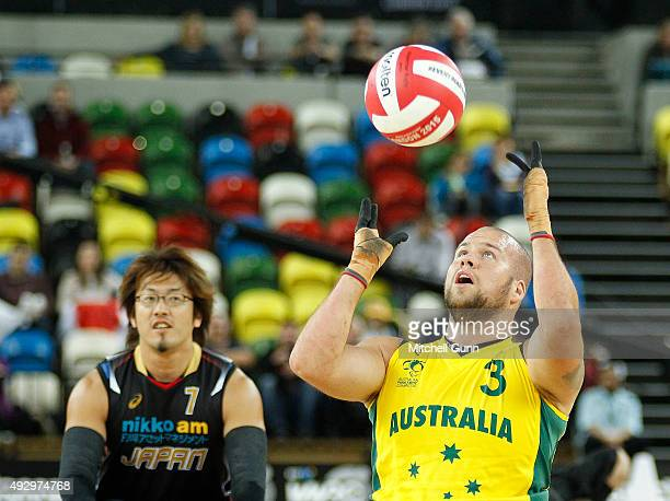 Ryley Batt of Australia catches the ball during the 2015 BT World Wheelchair Rugby Challenge bronze medal playoff match between Australia and Japan...