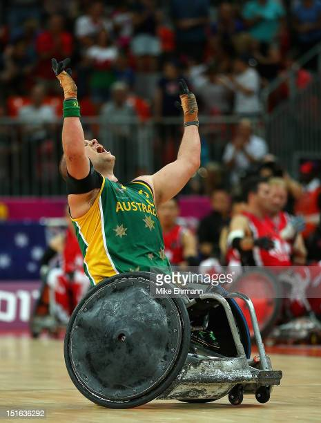 Ryley Batt of Australia celebrates winning the Gold Medal match of Mixed Wheelchair Rugby against Canada on day 11 of the London 2012 Paralympic...