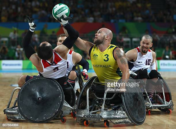 Ryley Batt of Australia in action against Chuck Aoki of the United States during the Men's Wheelchair Rugby Gold Medal match between Australia and...