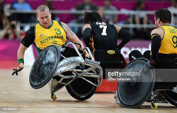 Ryley Batt of Australia in action during the Mixed Wheelchair Rugby Open semifinal match between the Australia and Japan on Day 10 of the London 2012...