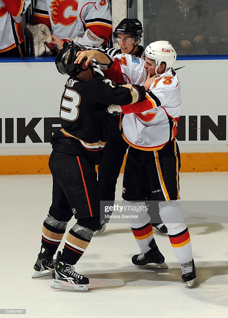 Ryley Grantham #73 of the Calgary Flames gets in the face of defenseman Mat Clark #73 of the Anaheim Ducks during game 3 of the Young Stars Tournament at the South Okanagan Event Centre on September 13, 2010 in Penticton, Canada.
