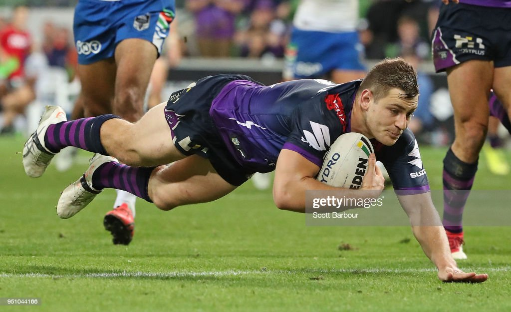 Ryley Jacks of the Melbourne Storm scores a try during the round eight NRL match between the Melbourne Storm and New Zealand Warriors at AAMI Park on April 25, 2018 in Melbourne, Australia.