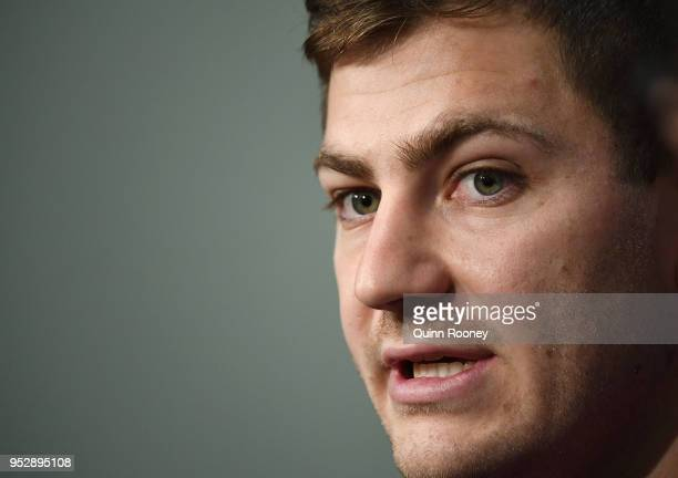 Ryley Jacks of the Storm talks to the media during a Melbourne Storm NRL press conference at AAMI Park on April 30 2018 in Melbourne Australia