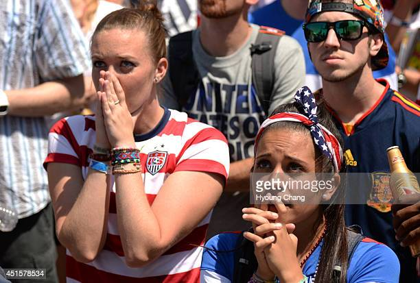 Rylie Thordsen front right an dyer friend Katie Branan are watching USA national team world cup game against Belgium at the British Bulldog Denver...
