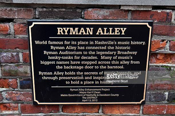Ryman Alley marker outside the Ryman Auditorium entrance on December 30 2015 in Nashville Tennessee