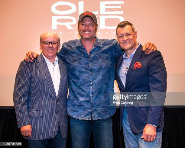 Ryman Hospitality Properties' chairman and CEO Colin Reed country artist and Opry member Blake Shelton and WSM Radio personality Bill Cody gather for...