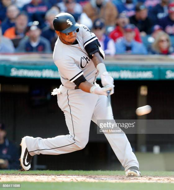 Rymer Liriano of the Chicago White Sox doubles in the fifth inning against the Cleveland Indians at Progressive Field on October 1 2017 in Cleveland...