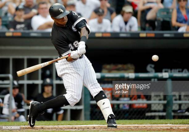 Rymer Liriano of the Chicago White Sox hits a two run home run against the Cleveland Indians during the fifth inning at Guaranteed Rate Field on...