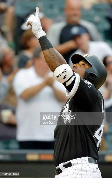 Rymer Liriano of the Chicago White Sox reacts after hitting a two run home run against the Cleveland Indians during the fifth inning at Guaranteed...